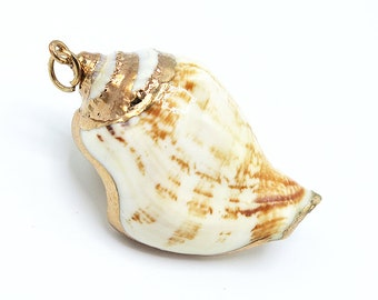 1 Piece Gold Plated Natural Sea Shell Trumpet Conch Pendant Bead 45x32mm