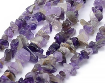 Amethyst Beads | Purple Amethyst | Gemstone Loose Beads | Sold by 33 Inch Strand | Size 5~8mm | Hole 0.5mm