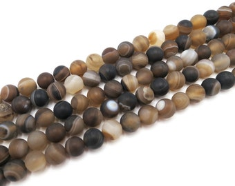 Stripe Agate Beads   Matte Brown   Round Natural Gemstone Loose Beads   Sold by Strand   Size 4mm 6mm 8mm 10mm