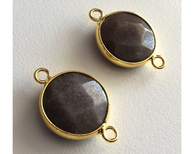 2 Pieces Gold Plated Natural Druzy Quartz Crystal Faceted Agate Bezel Connector 22x16mm