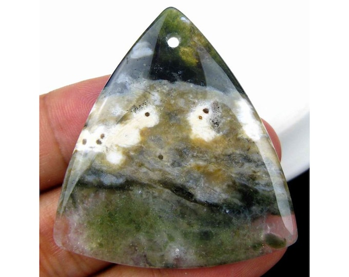 Natural Ocean Agate Triangle Gemstone Pendant Focal Bead 46x43x6mm V98893