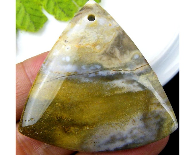 Natural Ocean Agate Triangle Gemstone Pendant Focal Bead 47x7mm C25577