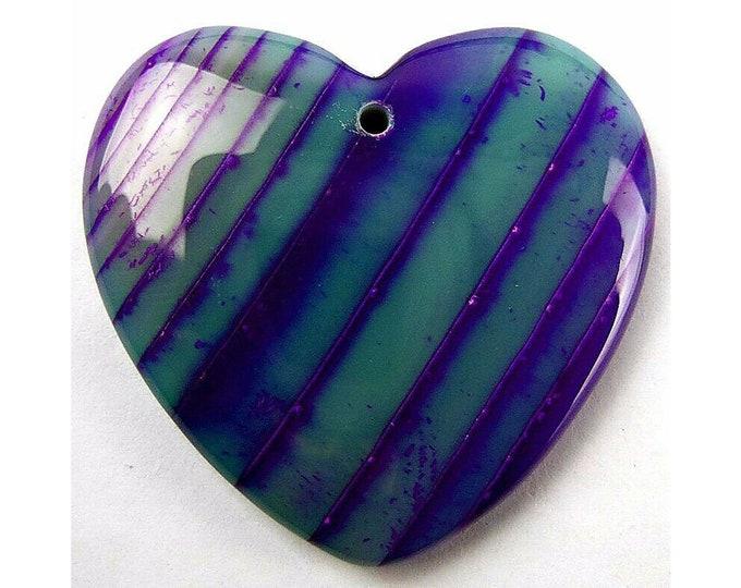 Purple Green Stripes Agate Heart Pendant Focal Bead 36x34x6mm B83282