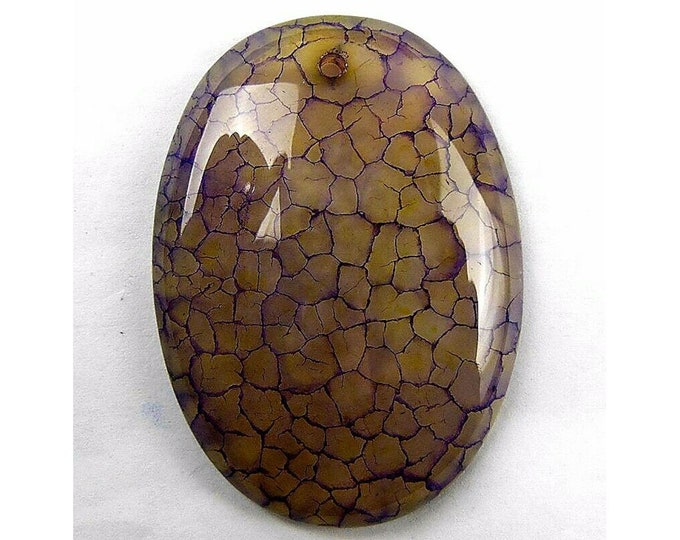 Purple Dragon Veins Agate Oval Gemstone Pendant Focal Bead 49x35x8mm B83384