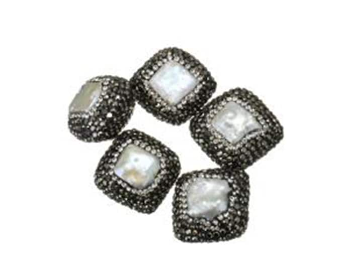 Freshwater Pearl Rhinestone Clay Pave Bead | Large Gemstone Loose Bead | Sold Individually | Size 22x22x14mm | Hole 1mm