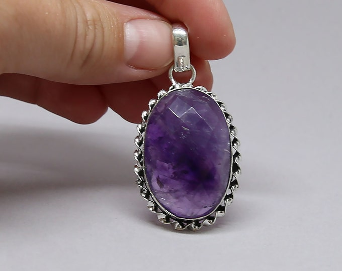 Faceted Amethyst Vintage Style .925 Solid Sterling Silver Pendant
