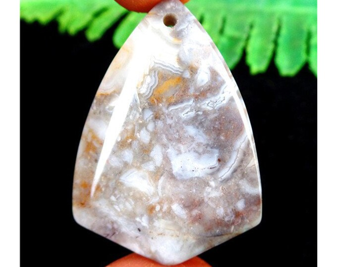 White Brown Crazy Lace Agate Shield Gemstone Pendant Focal Bead 42x30x7mm AM47087