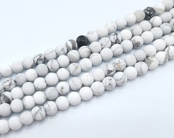 Howlite Beads | Turquoise Beads | Matte White | Round Natural Gemstone Loose Beads | Sold by Strand | Size 6mm