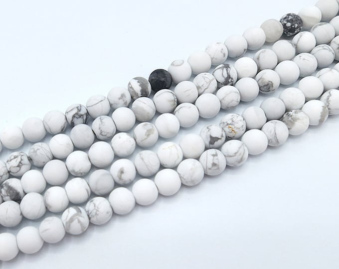 Howlite Beads | Matte White | Round Natural Gemstone Loose Beads | Sold by Strand | Size 4mm 6mm 8mm 10mm
