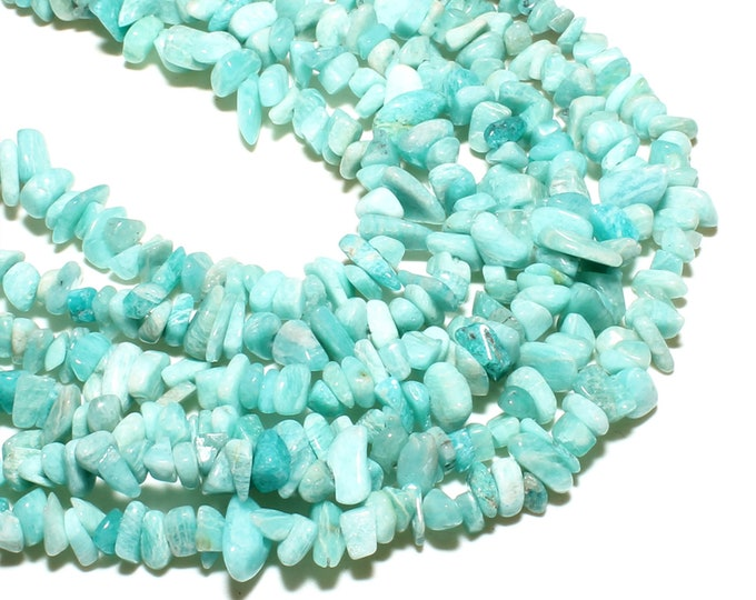 Amazonite Chips Beads | Natural Gemstone Beads | Sold by 15 Inch Strand | Size 5~8mm | Hole 0.5mm