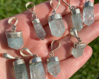 Natural Aquamarine Gemstone Pendant with Sterling Silver Bail | Sold Individually | Size 7-12x14-22mm | Hole 5mm