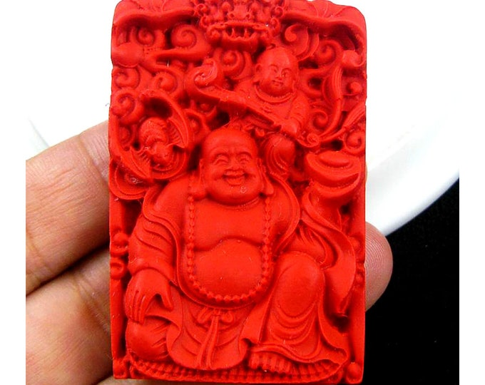 Red Carved Bodhisattva Cinnabar Gemstone Pendant Focal Bead 57x38x9mm V87686