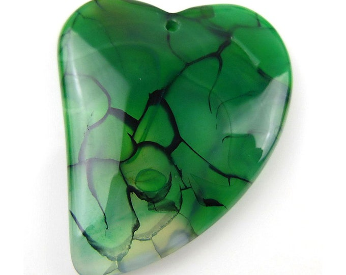 Green Dragon Veins Agate Heart Gemstone Pendant Focal Bead 41x34x6mm D12105