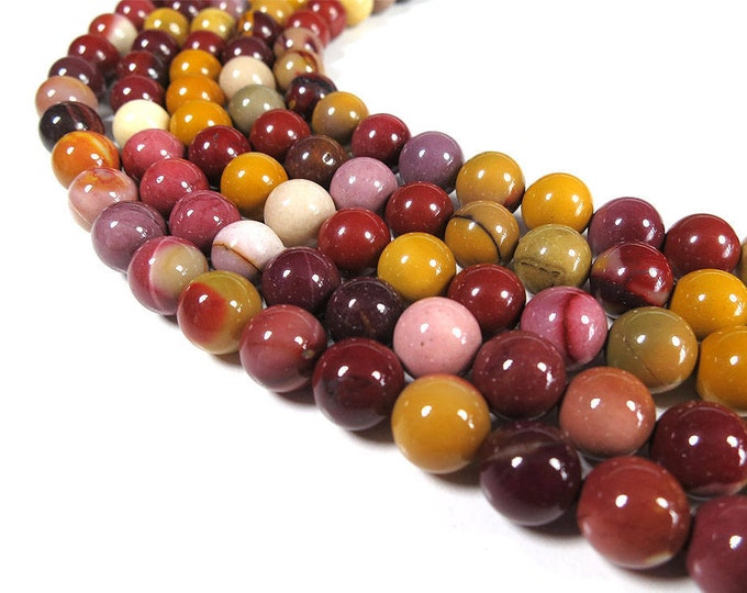 Mookaite Jasper Beads | Round Natural Gemstone Beads | Sold by 15 Inch Strand | Size 4mm 6mm 8mm 10mm