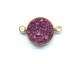 5 Pieces Gold Plated Purple Glitter Faux Druzy Agate Bezel Connector 20x12mm