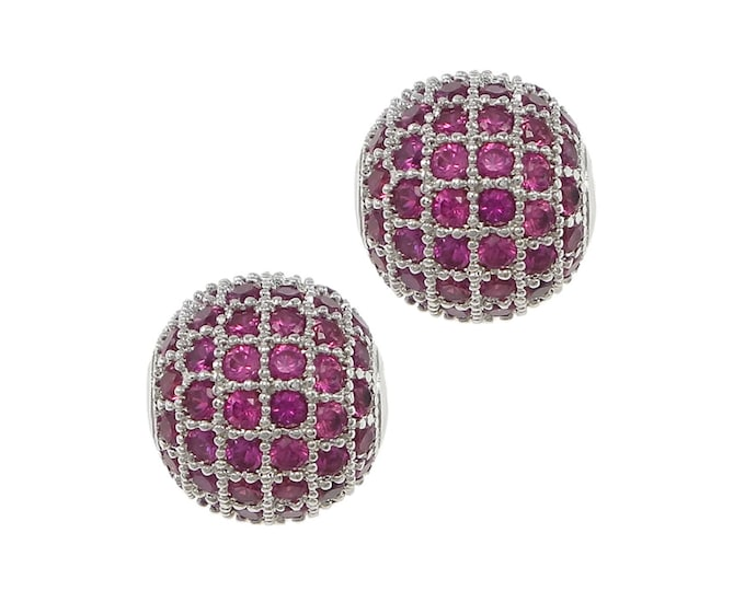 Cubic Zirconia Micro Pave Brass Round Bead   Silver Plated Magenta CZ   Size 12 mm   Hole 2mm