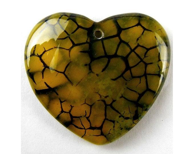 Yellow Black Dragon Veins Agate Heart Pendant Focal Bead 38x36x7mm V32161