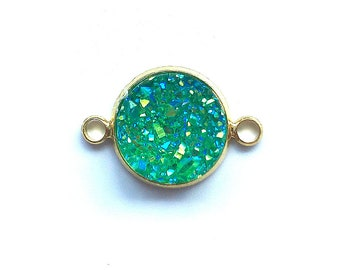 5 Pieces Gold Plated Light Green AB Faux Druzy Agate Bezel Connector 20x12mm