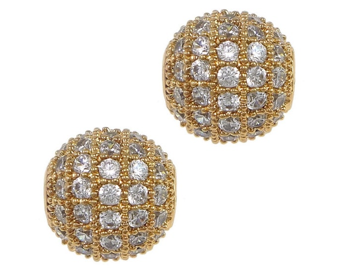 Cubic Zirconia Micro Pave Brass Round Bead 10 mm 18K Gold Plated