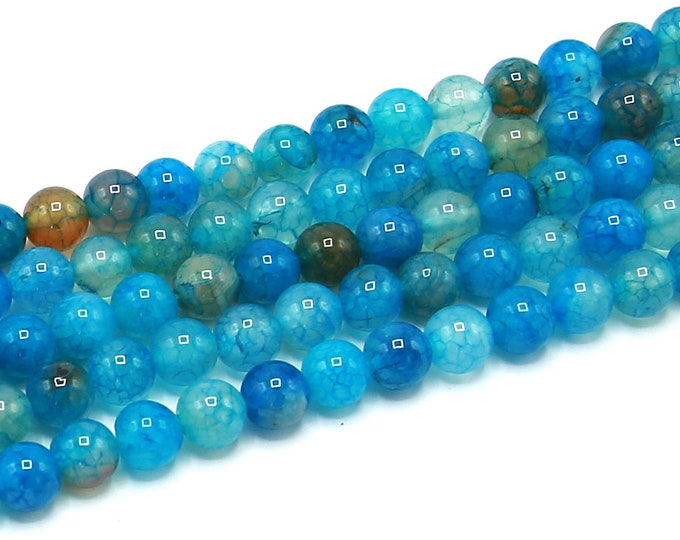 "8mm Blue Dragon Veins Agate Beads Round Polished Natural Gemstone Dyed Loose 15.5"" Full Strand Wholesale"