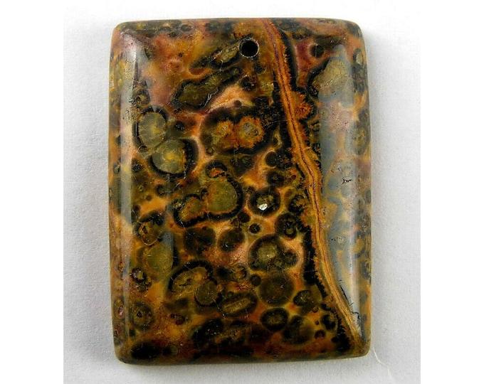 Natural Leopard Skins Jasper Oblong Pendant Focal Bead 39x29x7mm V32172