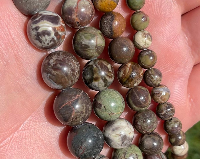 Ocean Jasper Beads   Round Natural Gemstone Loose Beads   Sold by 15 Inch Strand   Size 6mm 8mm 10mm 12mm