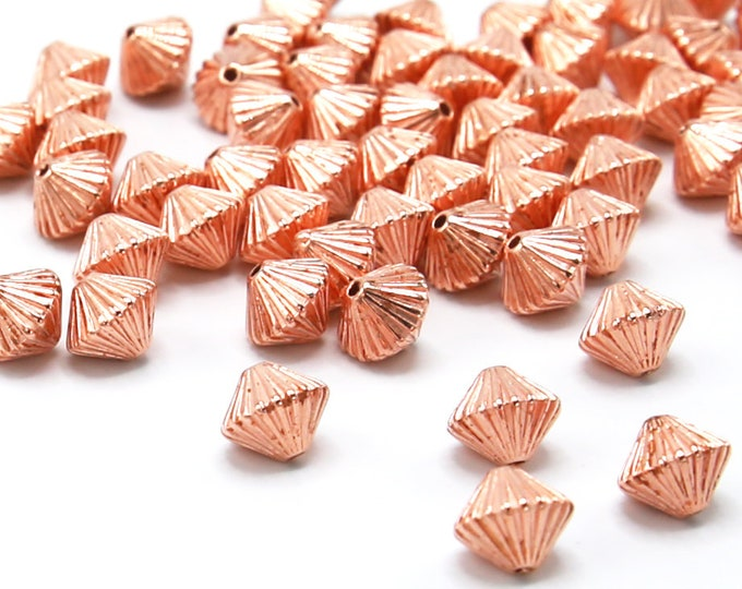 8x10mm Acrylic Spacer Beads Rose Gold Color Plated Faceted Bicone 100 Pcs Wholesale