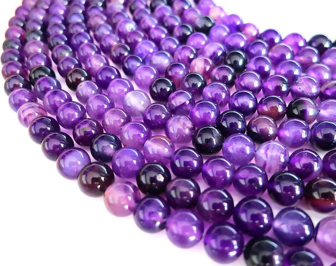 Purple Stripe Agate Beads   Round Natural Gemstone Loose Beads   Sold by Strand   Size 8mm