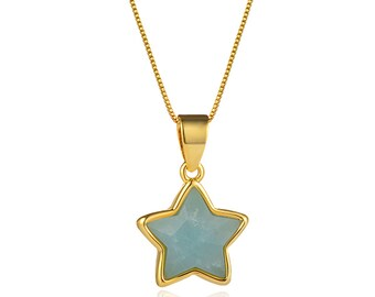 Faceted Amazonite Star Pendant Necklace   18K Gold Plated Brass Chain   Lobster Clasp   Chain Length 18 Inch   Pendant Size 12mm