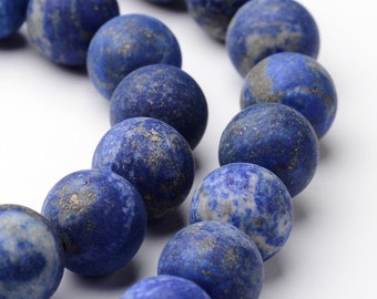 Lapis Lazuli Beads | Grade A | Matte Blue | Round Natural Gemstone Beads | Sold by 15 Inch Strand | Size 6mm 8mm 10mm