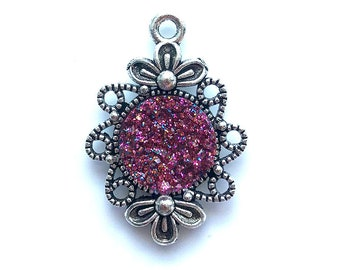 2 Pieces Antique Silver Plated Purple Glitter Faux Druzy Agate Bezel Charm Flower Pendant
