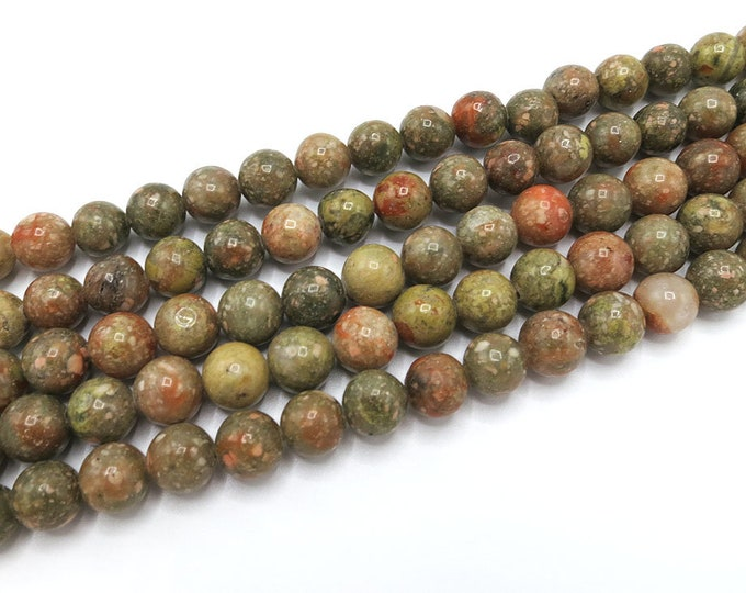 Unakite Jasper Beads | Round Natural Gemstone Loose Beads | Sold by Strand | 4mm 6mm 8mm 10mm 12mm