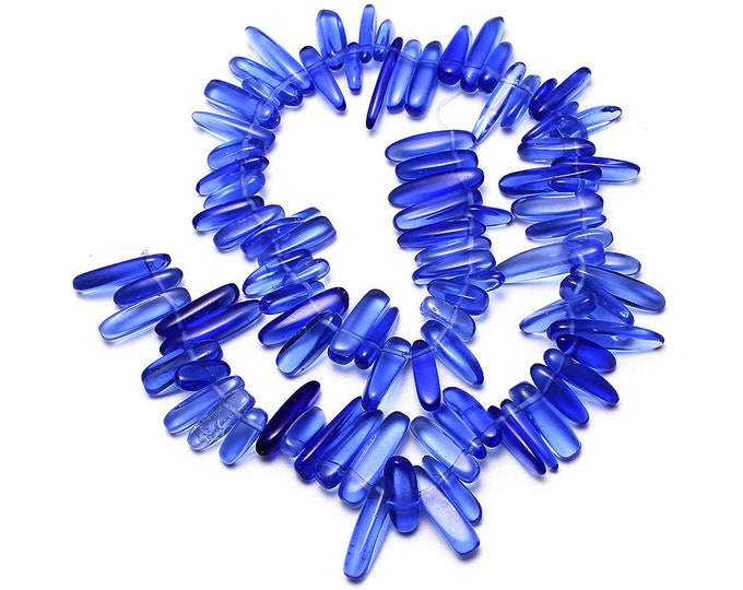 Royal Blue Sapphire Lab Crystal Chips Nuggets Gemstone Jewelry Beads Full Strand 15.5""
