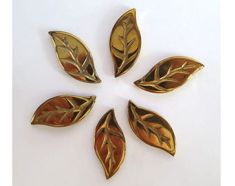 6 Pcs Gold Color Hematite Carved Leaf Pendant Focal Bead 27x12x3mm