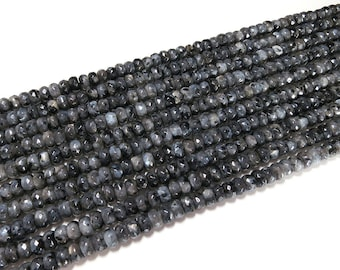 5x8mm Black Labradorite Grade A Faceted Rondelle Beads Gemstone Loose 15'' Full Strand