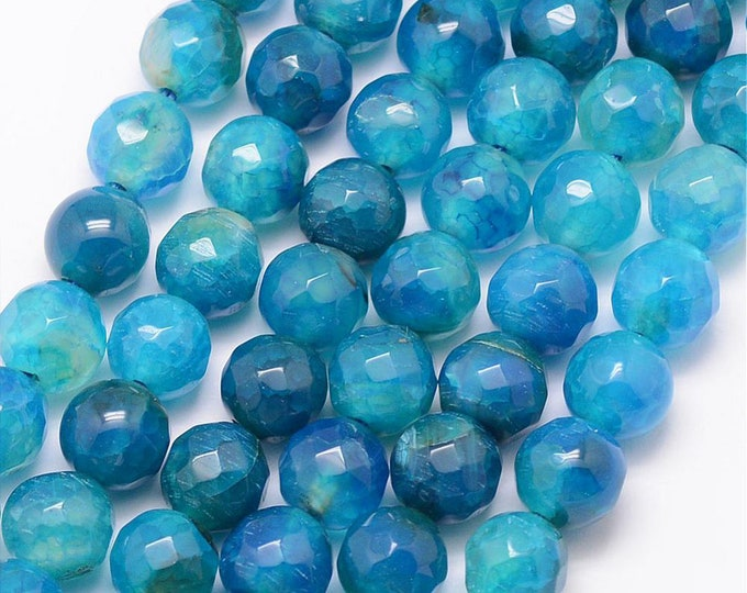 Fire Agate Beads | Deep Blue | Faceted Round Natural Gemstone Loose Beads | Sold by Strand | Size 8mm