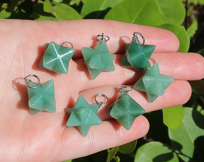 Aventurine Beads | Merkaba Pendant | 3D Star | Charka Healing Polygonal Focal | Natural Gemstone Pendant | Sold by Piece | Size 13x20mm