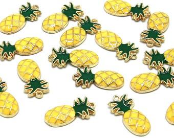 5 Pcs Yellow Pineapple Gold Color Zinc Alloy Enamel Pendant Charm DIY ENAM-Q033-17