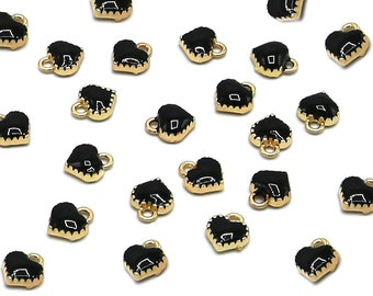 10 Pcs Black Heart Gold Color Zinc Alloy Enamel Pendant Charm DIY ENAM-Q033-51C