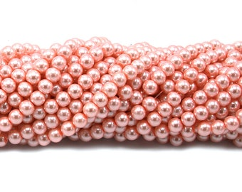 """8-9mm Glass Pearl Beads Peach Puff Painted Polished Synthetic Loose Full Strand 31.4"""" HY-Q330-8mm-05 Wholesale"""