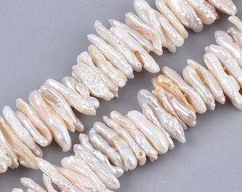 Natural Baroque Keshi Pearl Beads | Cultured Freshwater Pearls | Sold by 7 Inch Strand | Size 15~23x5~7x2~5mm | Hole 0.6mm