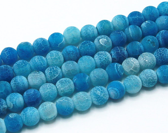 "8mm Blue Effloresce Agate Beads Round Polished Natural Gemstone Loose 15.5"" Full Strand Wholesale"