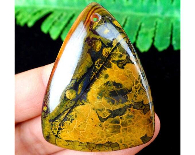 Beautiful Dark Yellow Brown Dragon Veins Agate Triangle Pendant Gemstone Focal Bead 46X36X6mm AM47943