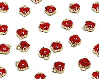 10 Pcs Red Heart Gold Color Zinc Alloy Enamel Pendant Charm DIY ENAM-Q033-51D