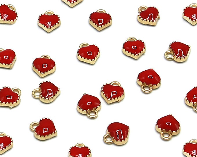 Red Heart Charm Pendant | Gold Color Plated | Sold by Lot 10 Pcs | Size 8x7.5x2.5mm