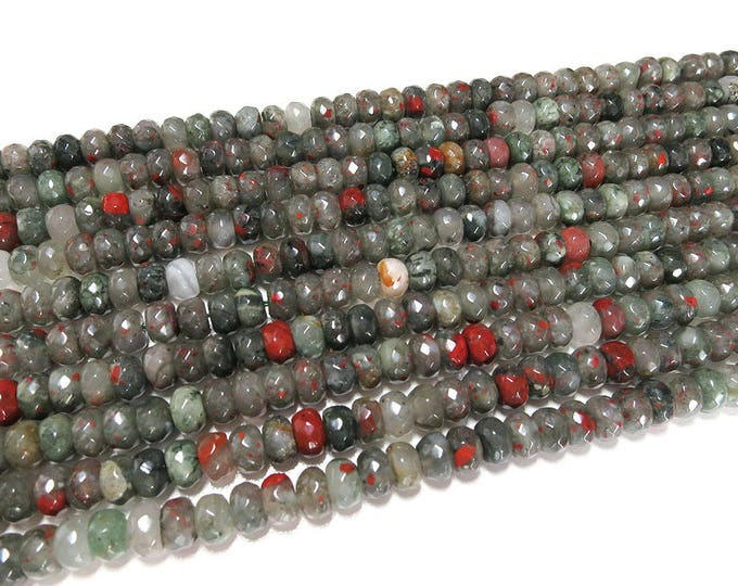 African Bloodstone Rondelle Beads | Faceted Natural Gemstone Loose Beads | Sold by Strand | Size 8x5mm