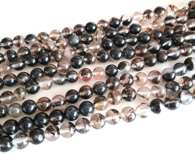 Glass Beads | Black Brown | Round Polished Glass Loose Beads | Sold by Strand | Size 8mm