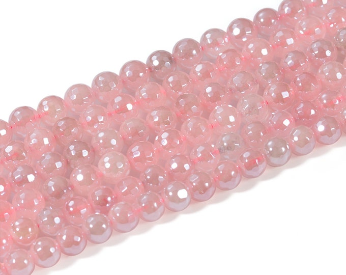 Rose Quartz Beads | Grade AAA | Faceted Round Plated Natural Gemstone Beads | Sold by 15 Inch Strand | Size 6mm 8mm 10mm