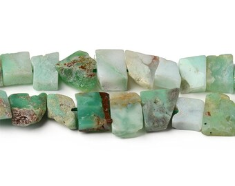 Australian Jade Chrysoprase Nuggets Beads   Drilled Slab Natural Gemstone Loose Beads   Sold by 15 Inch Strand   Size 12x18mm