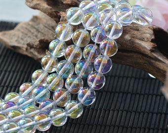 Angel Aura Quartz Beads | Glossy Clear | Grade A | Round Natural Gemstone Loose Beads | Sold by Strand | Size 6mm 8mm 10mm